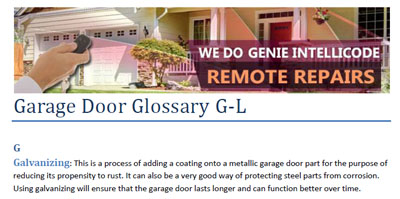 Glossary - Garage Door Repair The Colony